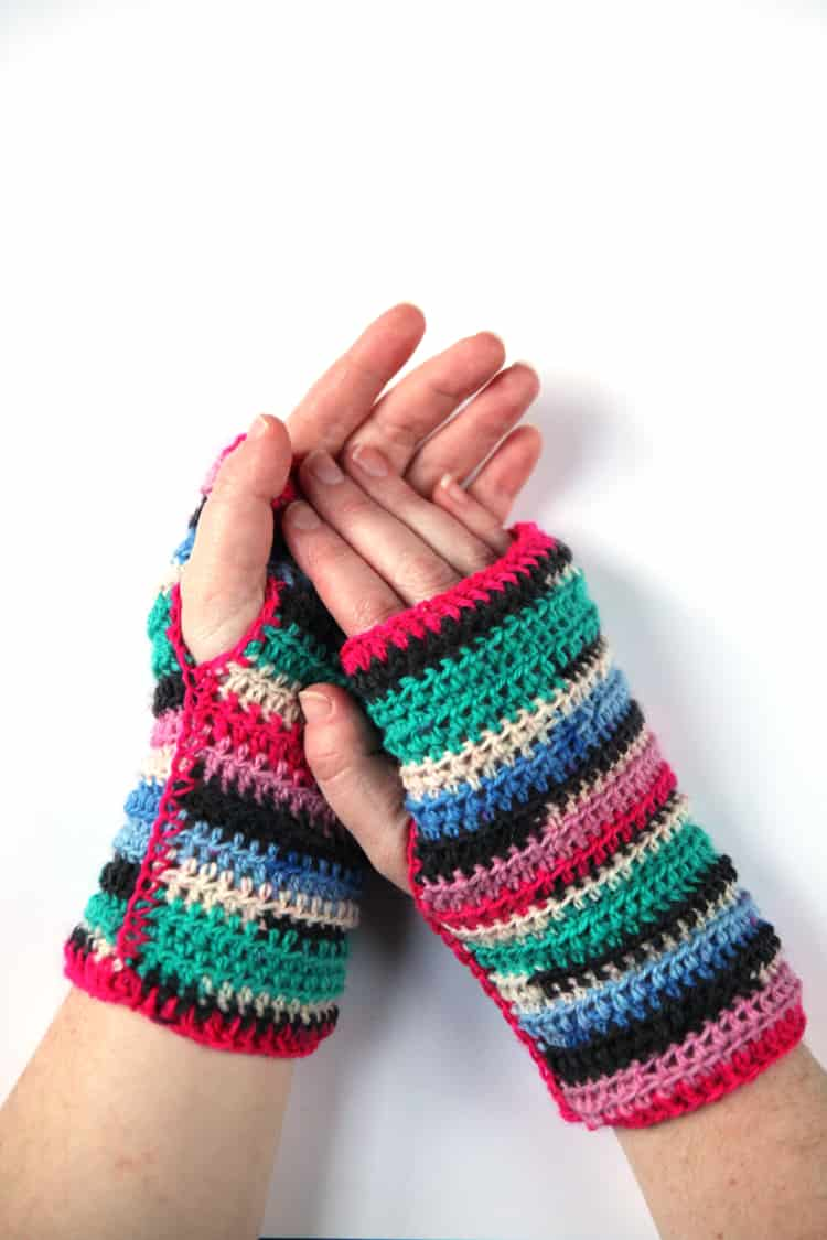 Stripe Fingerless Mittens Crochet Pattern