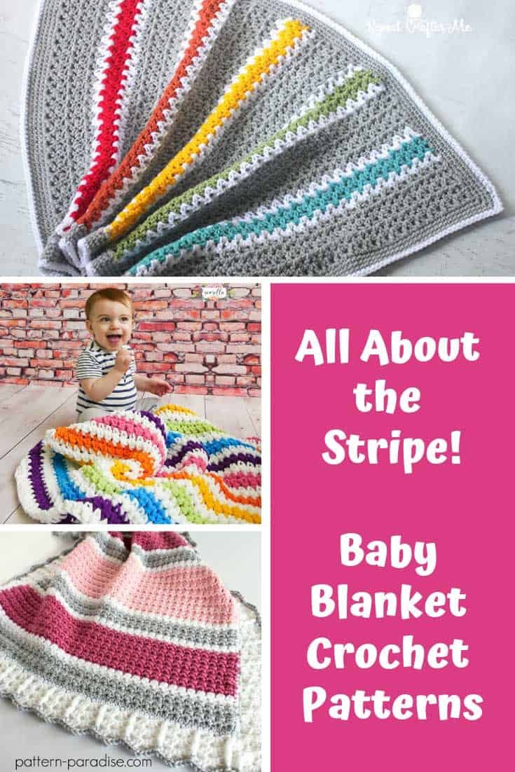 Stripe Crochet Baby Blanket Patterns {To add a pop of color!}