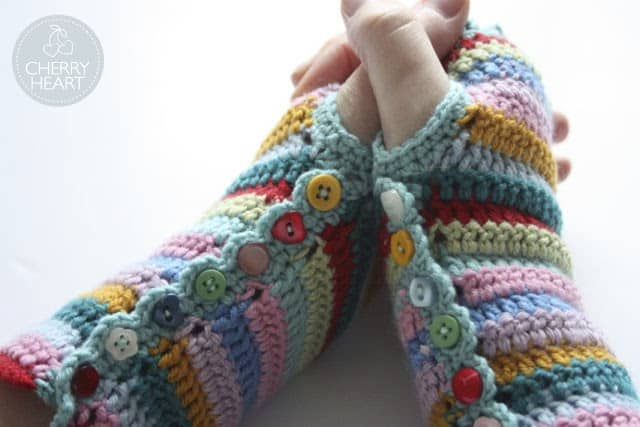 Stripy Mitts with Buttons