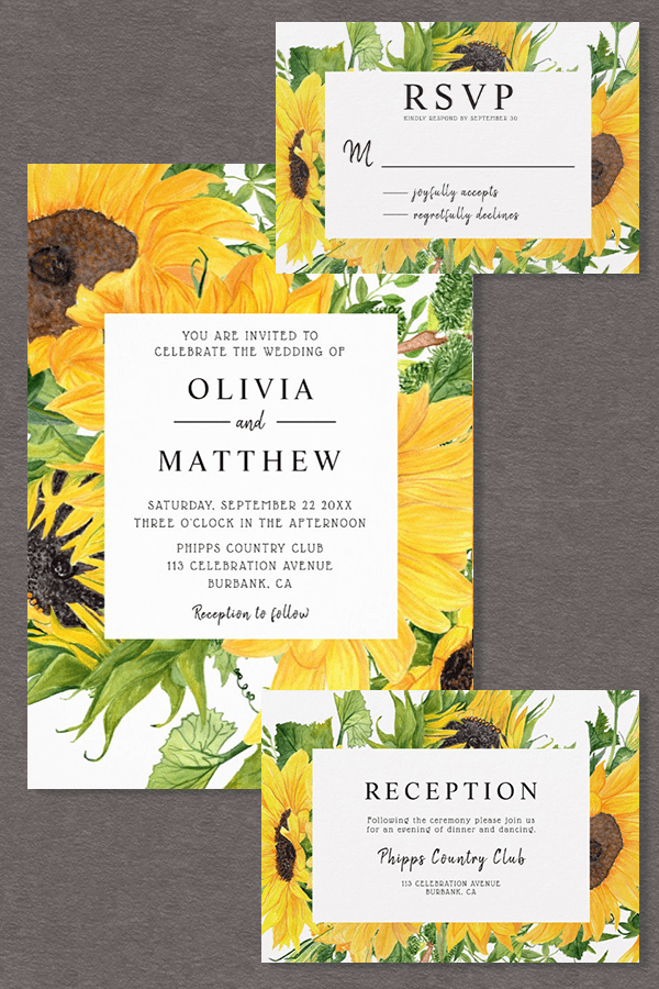 This beautiful sunflower wedding invitation suite is the perfect choice for your rustic wedding
