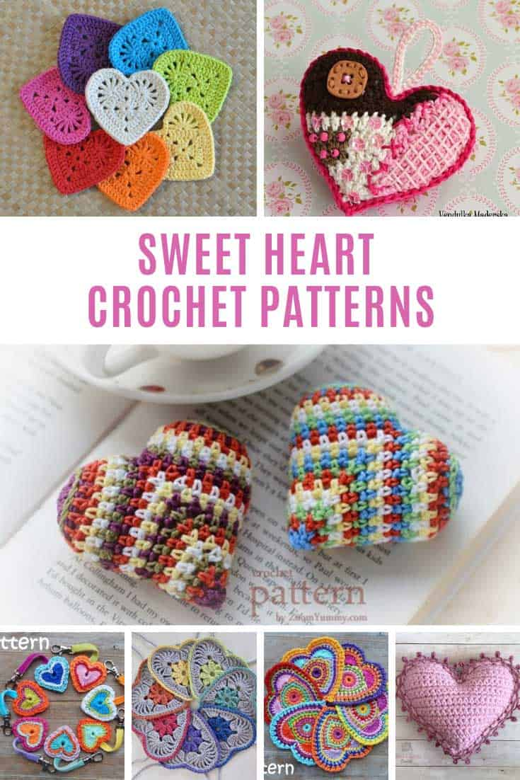 Loving these sweet heart crochet patterns - so many uses for them too!