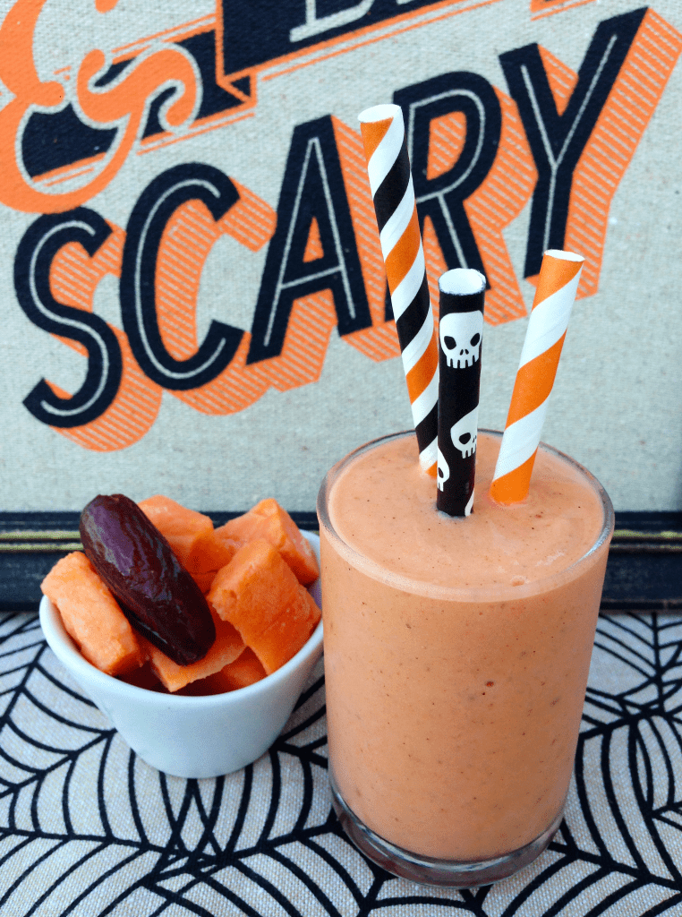 Happy Halloween Sweet Potato Milkshake - Love how you can hide veggies in a Halloween treat!