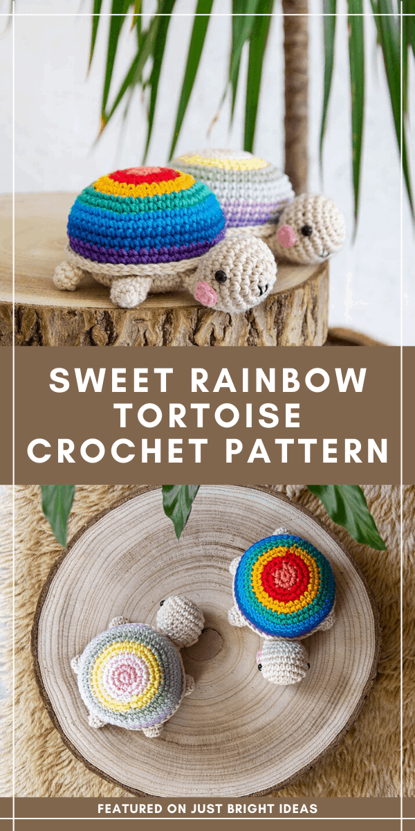 These sweet rainbow tortoises need a new home! The crochet pattern is easy to follow and can be downloaded immediately
