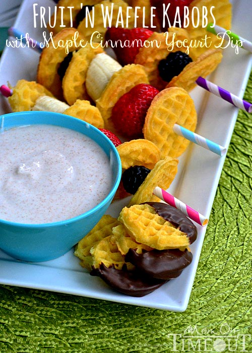 Fruit 'n Waffle Kabobs with Maple Cinnamon Yogurt Dip