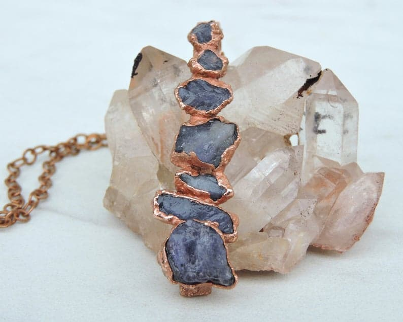 Handcrafted Raw Tanzanite Birthday Vertical Bar Necklace
