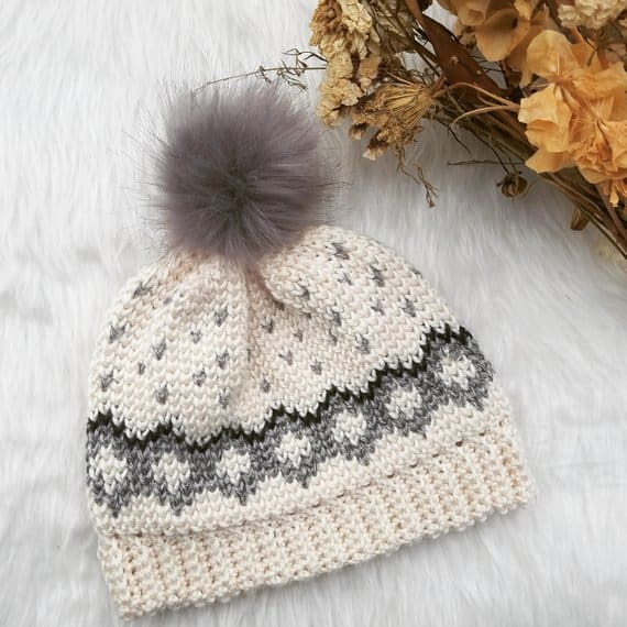 This tapestry beanie hat is ADORABLE and simple enough for a beginner to follow the crochet pattern!