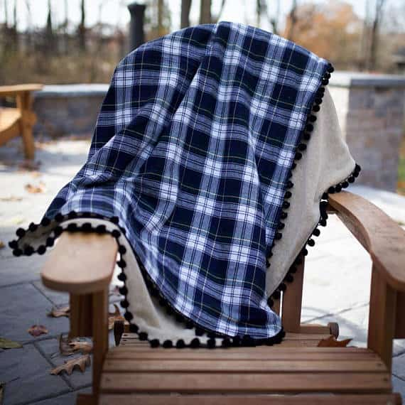 Tartan Pom Pom Flannel Fleece Throw Blanket - Farmhouse