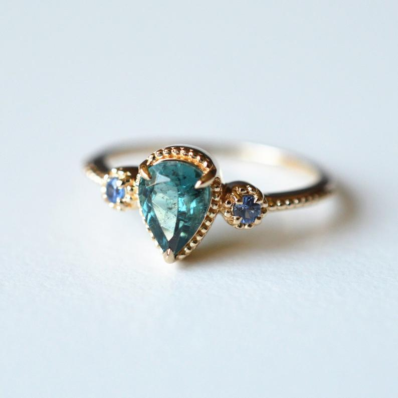 Teal Tourmaline Engagement RIng