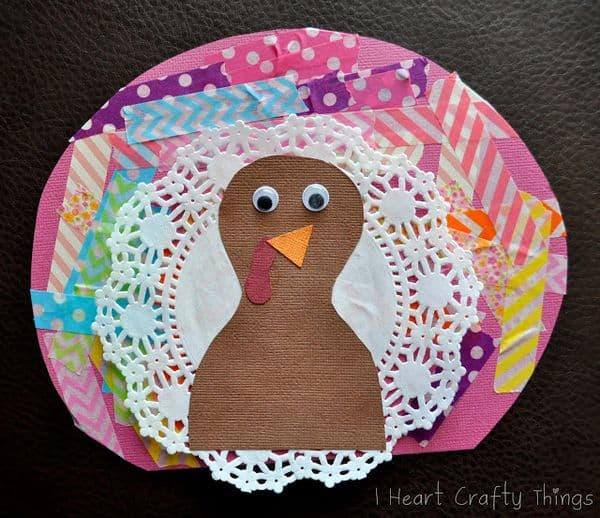 Thanksgiving Crafts for Preschoolers Washi Tape Turkey