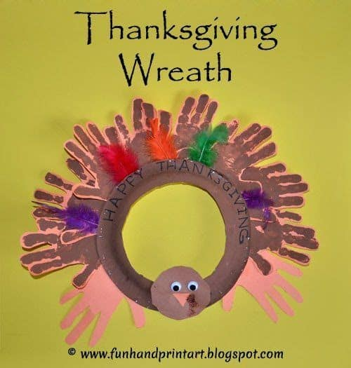 Thanksgiving Wreath Activity for Preschoolers Handprints