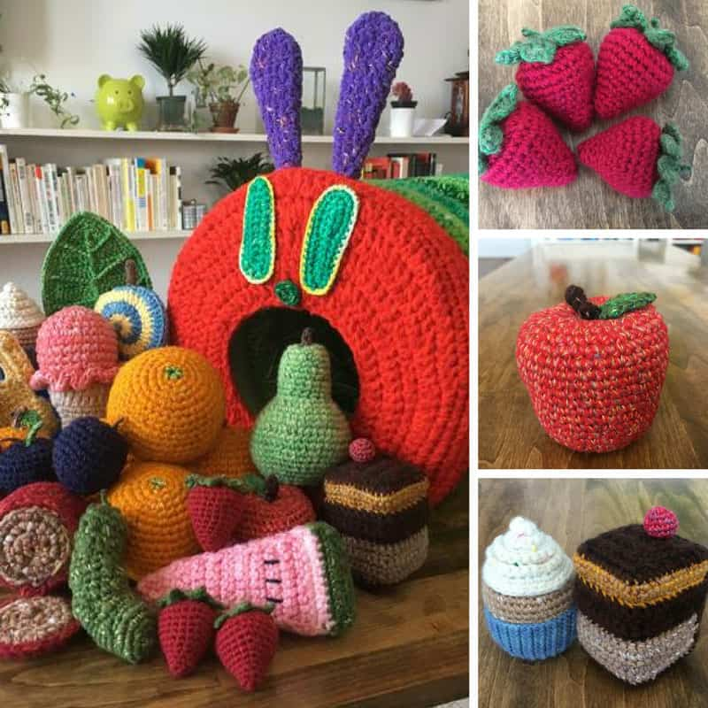 Loving this crochet Hungry Caterpillar and all his food!