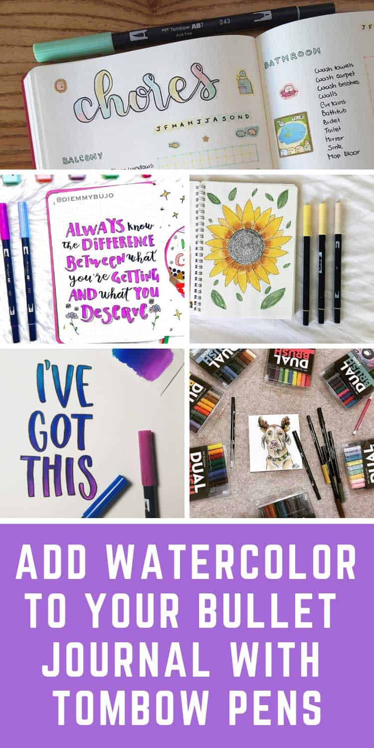Loving this bullet journal inspiration for how to use tombow pens!