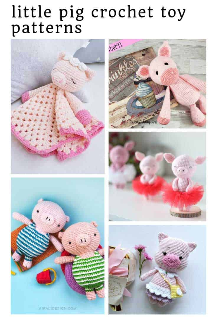 These toy pig crochet patterns are just too cute for words!