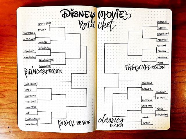 Track your Disney movie bucket list in your bujo