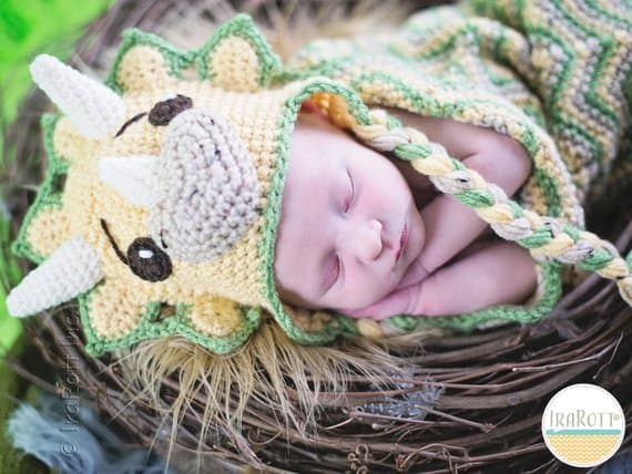 Triceratops Baby Hat Crochet Pattern