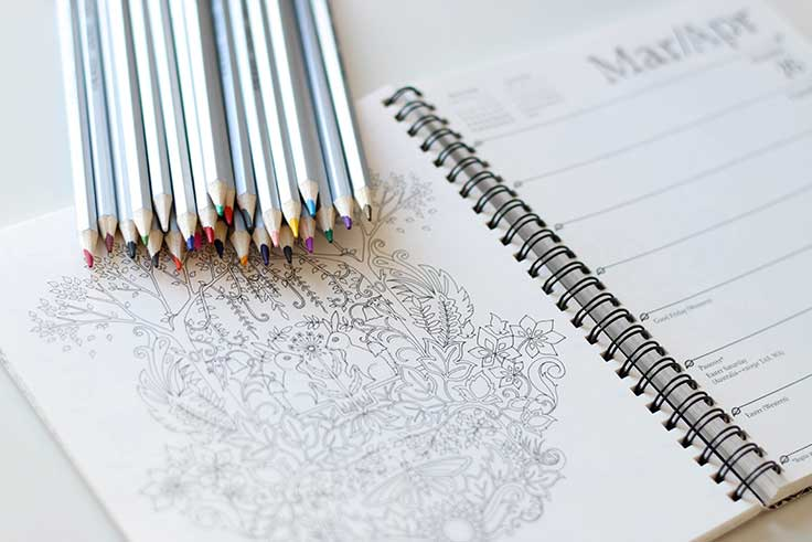 Combining coloring with journaling is a good example of how you can improve your mindfulness
