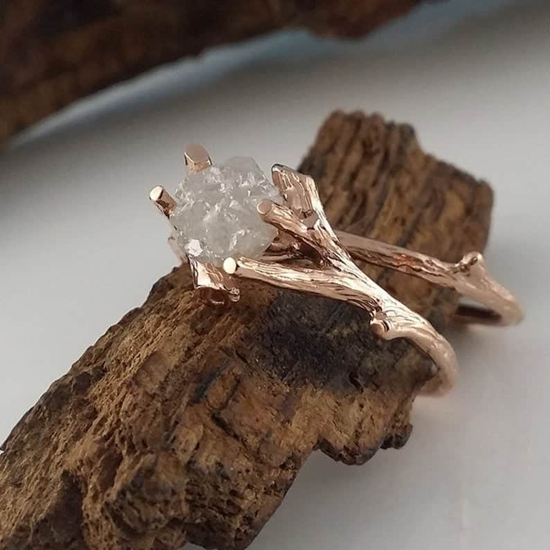 Twig Rough Cut Diamond Engagement Ring