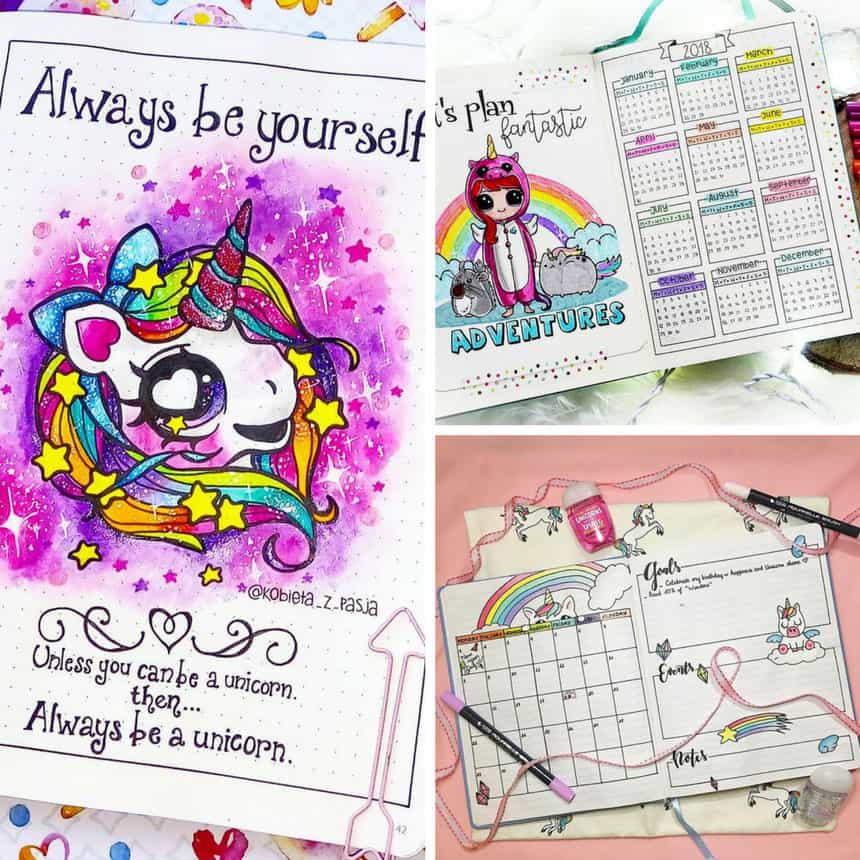 Unicorn Bullet Journal Layouts Ideas