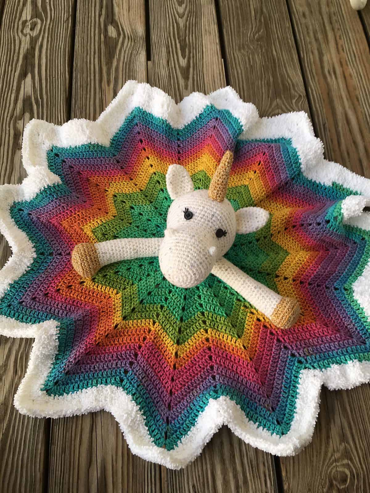 Unicorn Lovey 12 Point Star Blanket