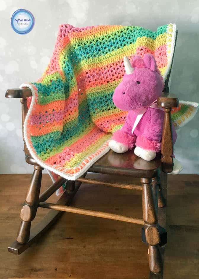 Unicorn Stripe Baby Blanket Crochet Pattern
