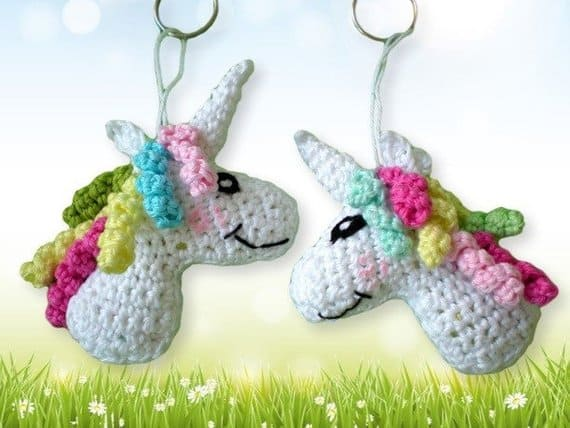 Unicorn head keychain crochet pattern
