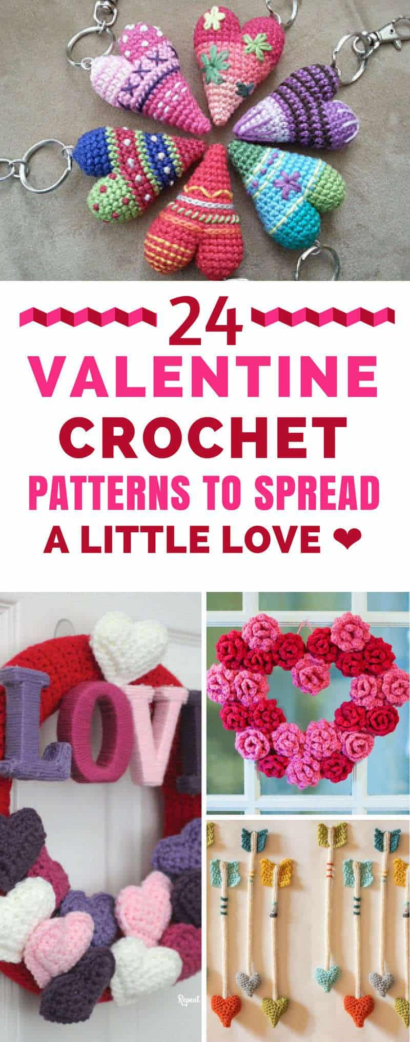 Valentine's Day Crochet Patterns - put a little love on your hook with these gorgeous heart and flower patterns that are perfect for Valentine's Day decor and gift ideas! #valentinesday #crochet