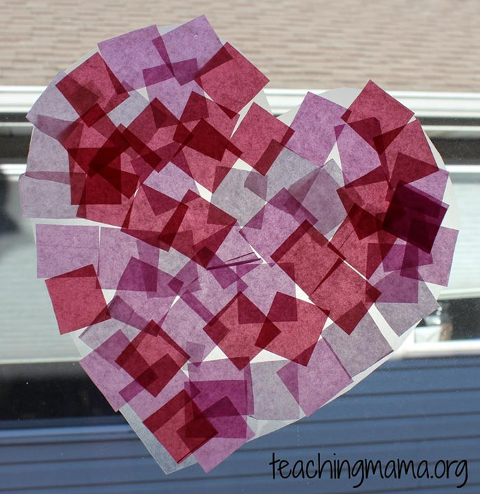 Heart Tissue Paper Suncatcher - Teaching Mama