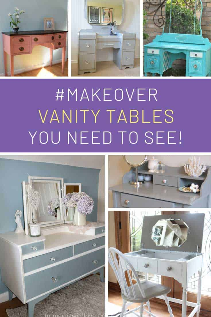 These vanity table makeovers are STUNNING! Love a good upcycle project for the weekend!