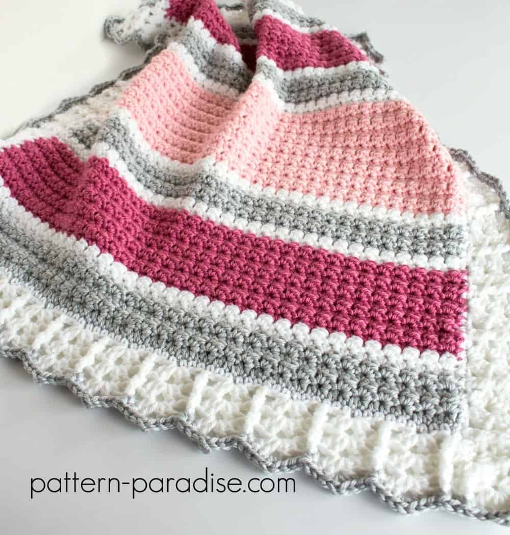 Variated Stripe Baby Blanket Crochet Pattern