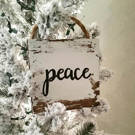 Vintage Peace Christmas Tree Sign