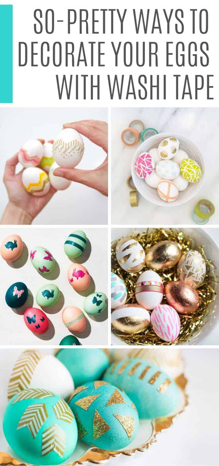 Designing Easter eggs with washi tape is so easy and so much fun. Perfect DIY projects for kids and grownups this Spring!