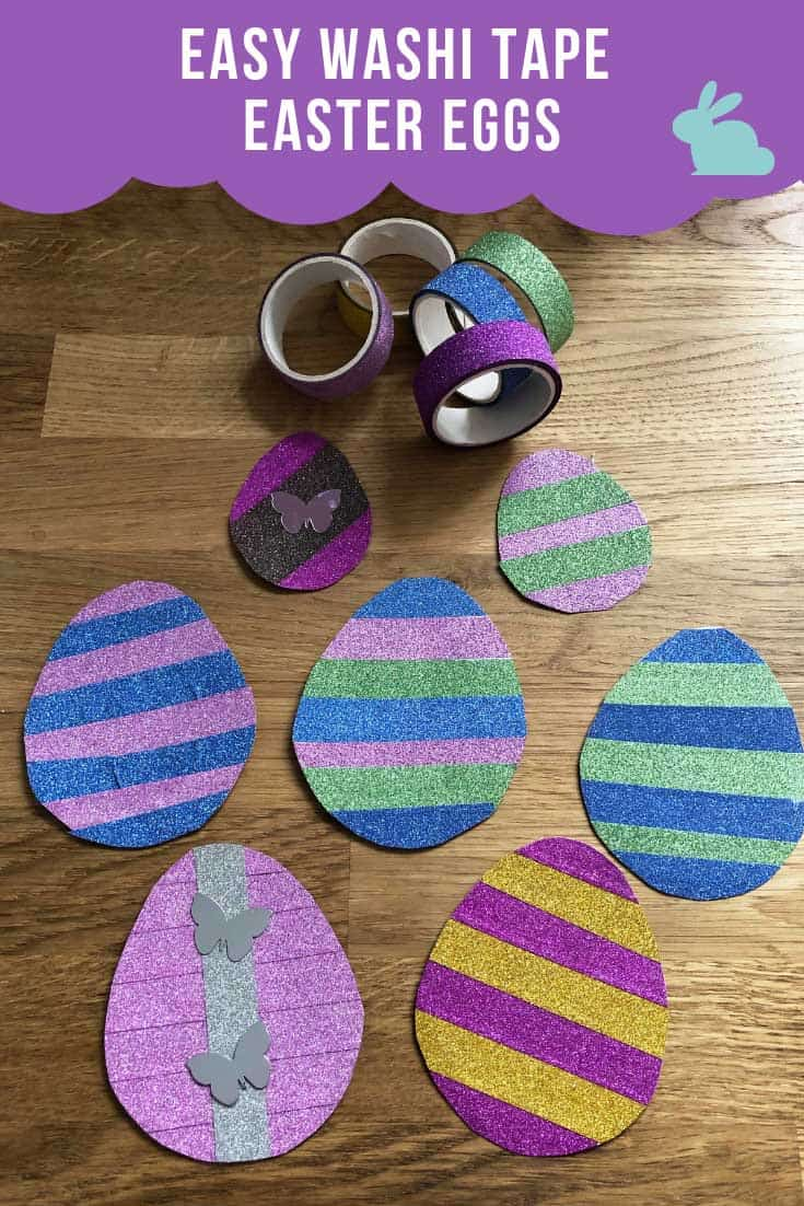 Dress up your mantel this Easter with one of these easy to make easter egg garlands made from your favourite washi tape!
