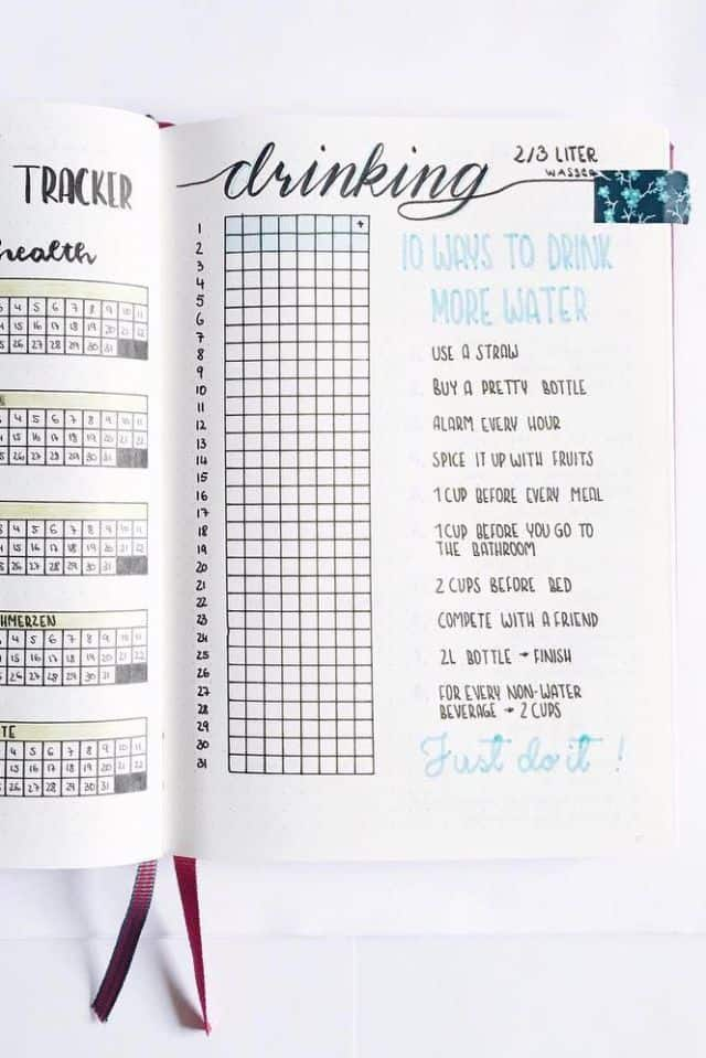 Water Tracker Bullet Journal