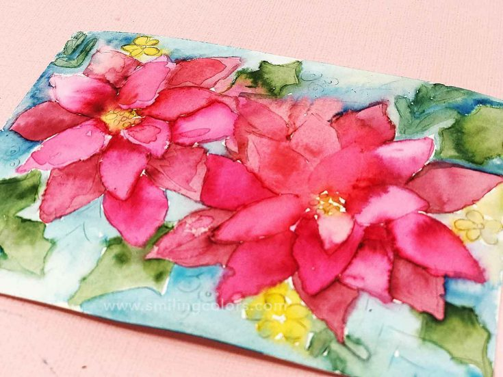 Watercolor Poinsettia Tutorial with VIDEO