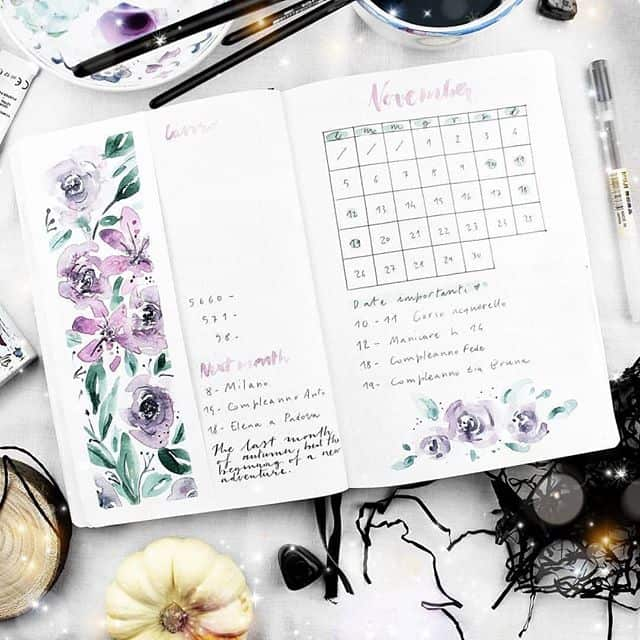 Watercolor floral monthly log