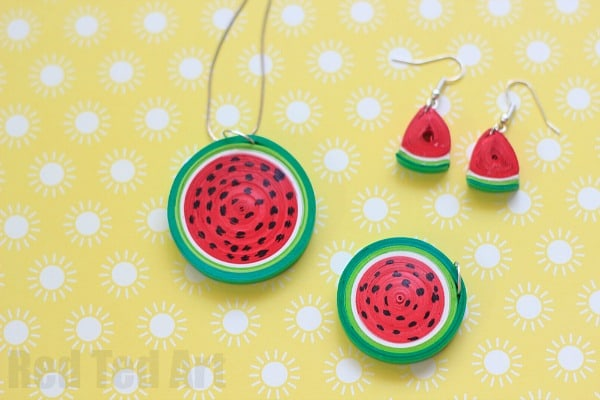 Quilled Paper Watermelon Jewllery
