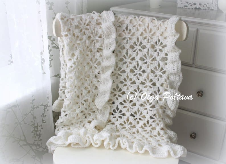 White Spider Lace Baby Blanket