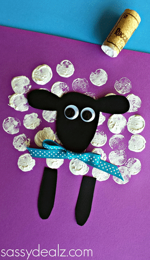Wine cork sheep craft