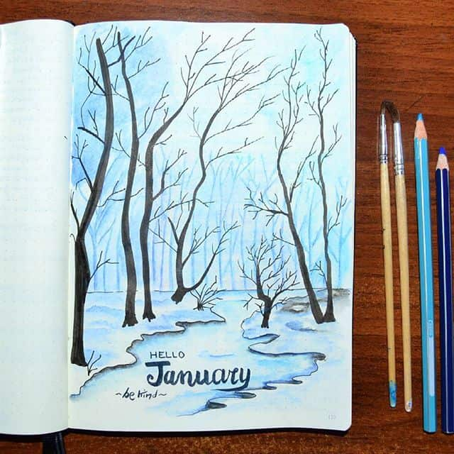 Winter Forest Scene Cover Page January Bullet Journal