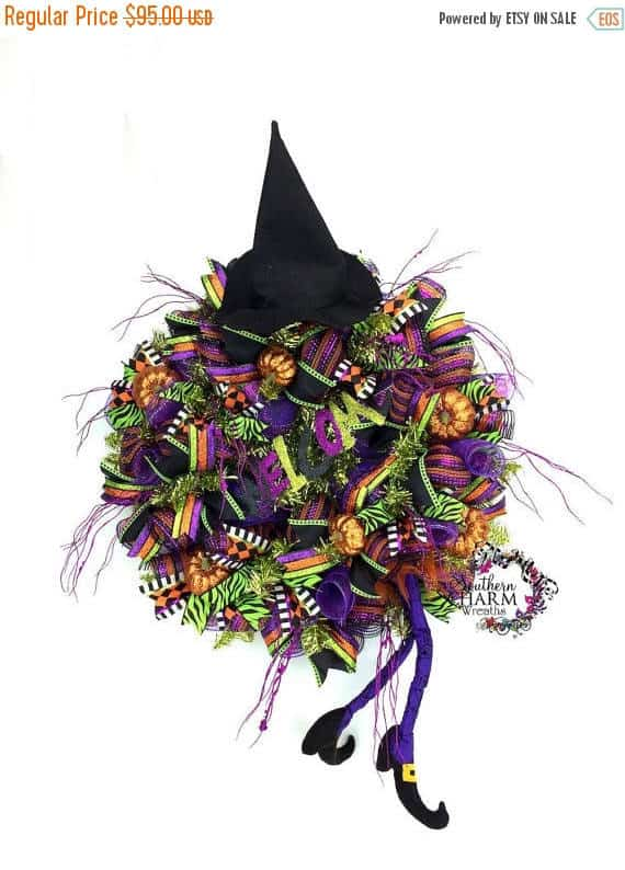 Witch Hat Deco Mesh Wreath