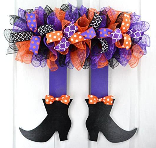 Witch's Legs Halloween Wreath