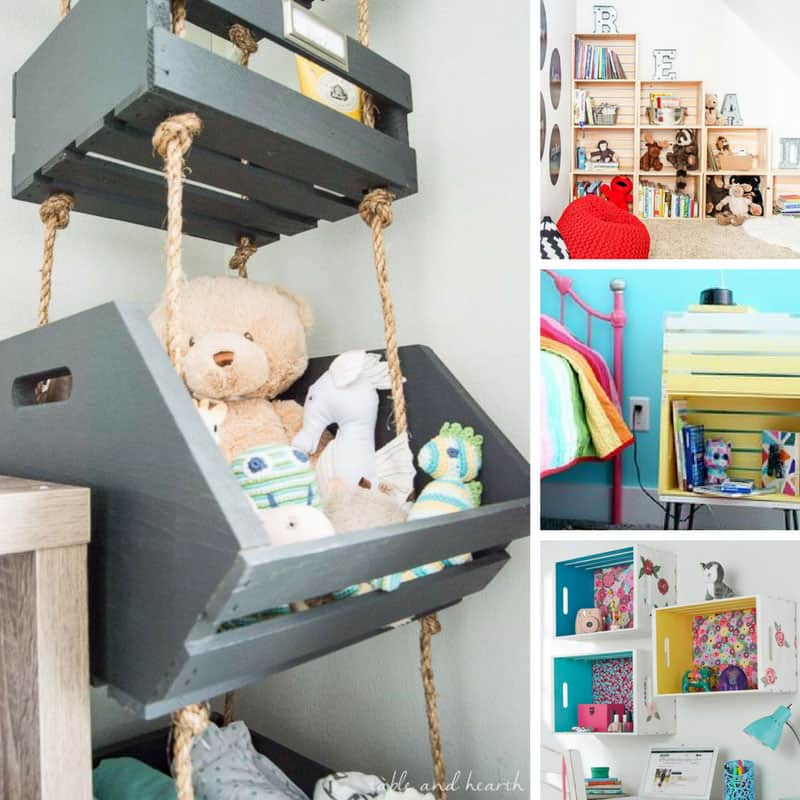 Loving this wood crate storage for the kid's stuff! Looks great and it's not expensive to make! Thanks for sharing!