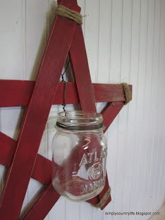 Wood Slat Star Mason Jar Wall Vase