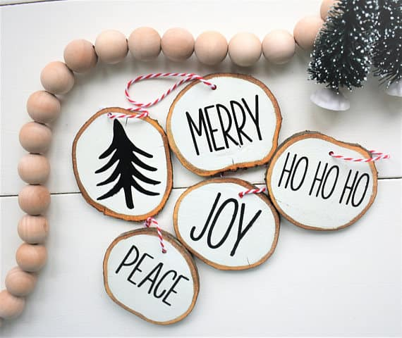 Wood Slice Fixer Upper Christmas Ornaments