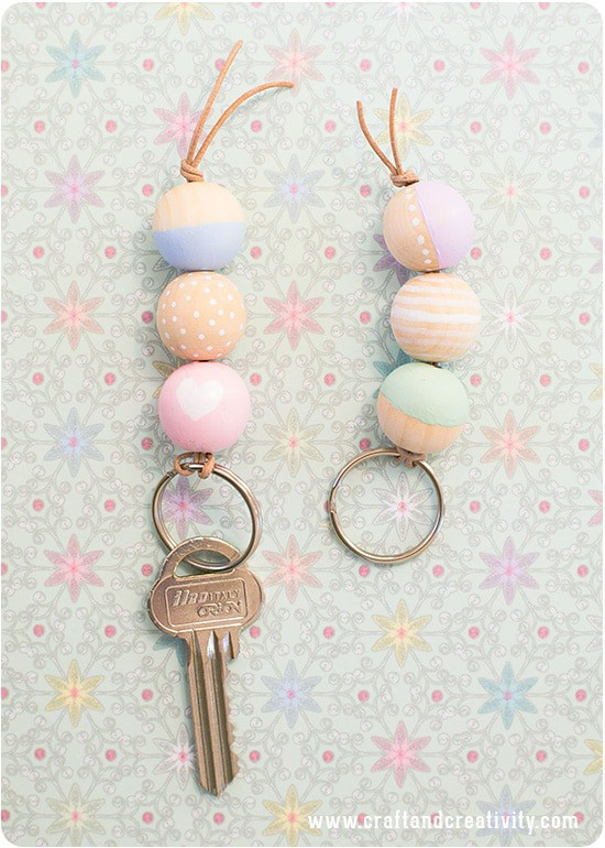 Wooden Beaded Keychain