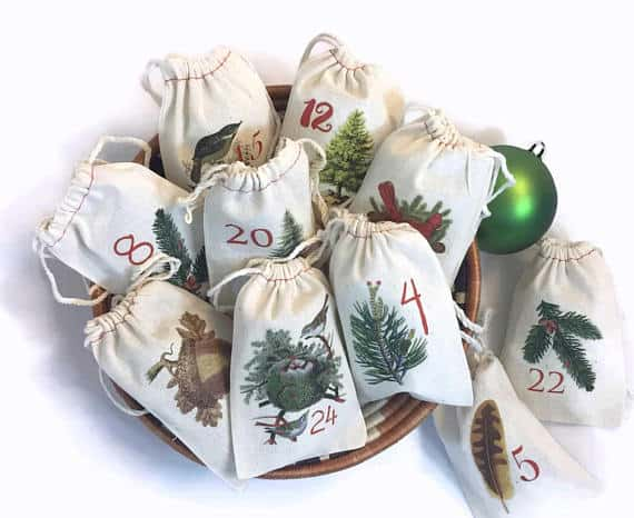 Woodland Nature Rustic Bags Advent Calendar Farmhouse
