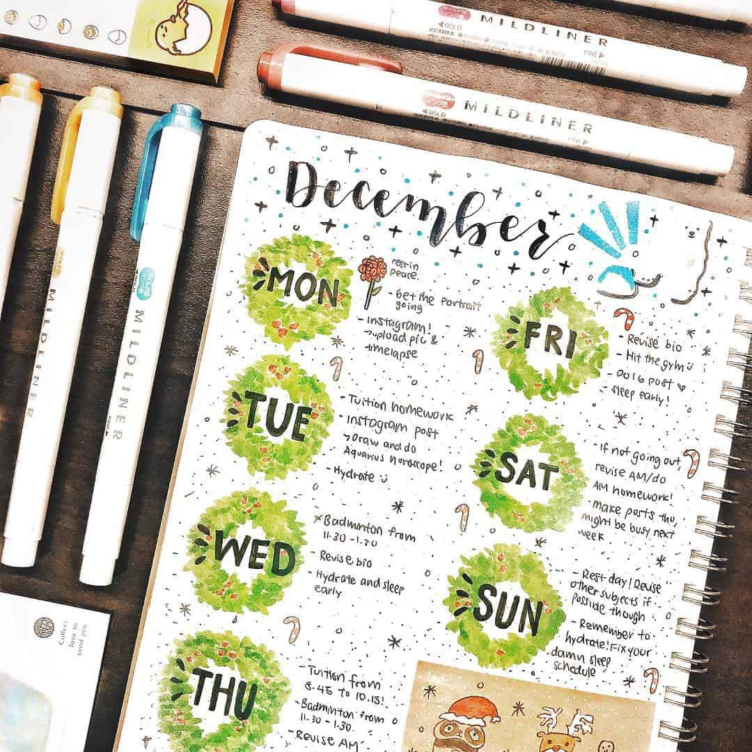 Wreath bullet journal daily headers