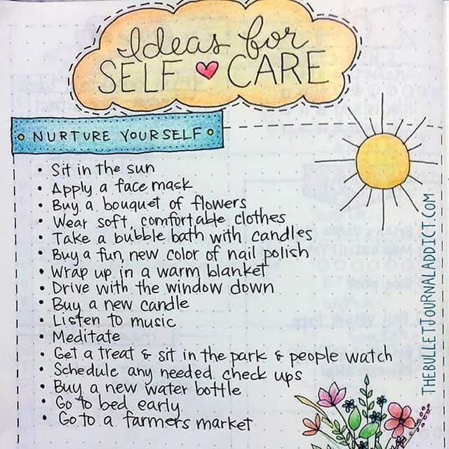 Write down ideas for self care