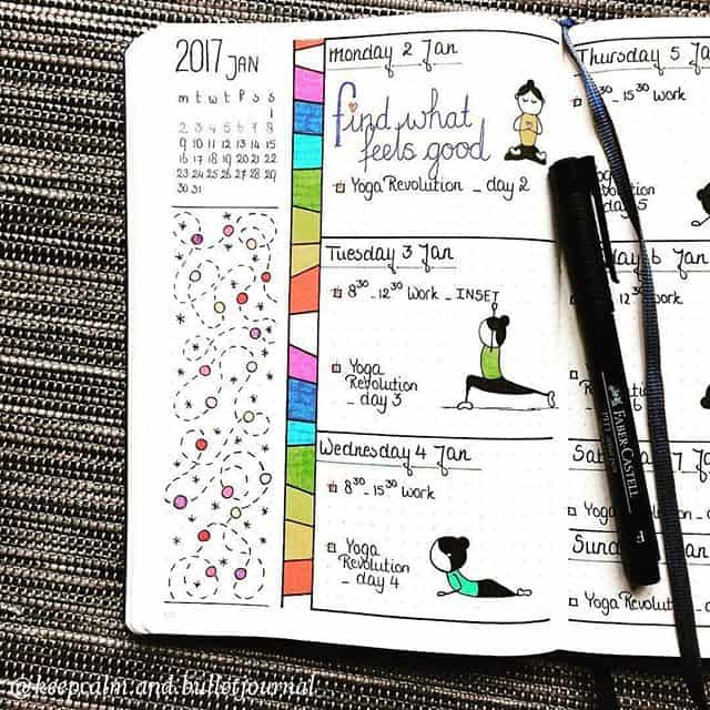 Bullet Journal Yoga Poses Log