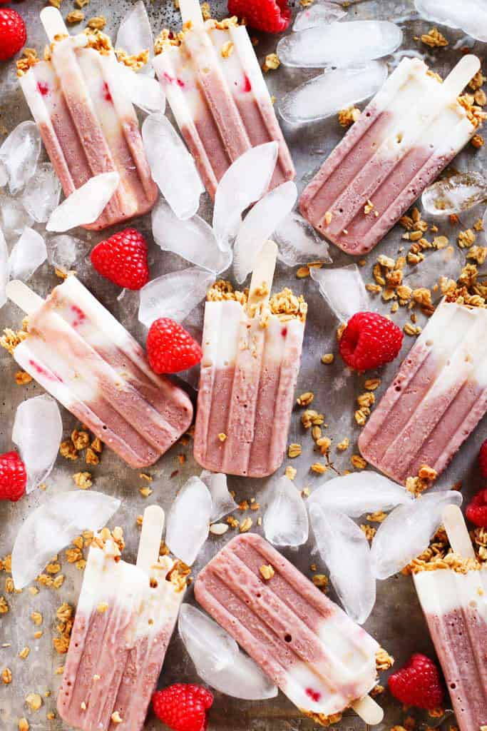Yogurt and Granola Breakfast Protein Popsicles